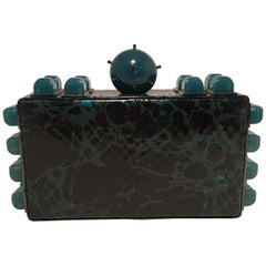 Tonya Hawkes Black Teal and Green Leather Paint Splatter Convertible Clutch