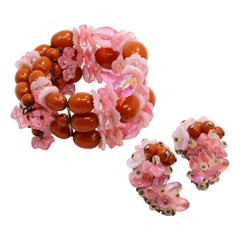 Hobe Rose Crystal Cluster and Coral Bead Clip On Earrings and Infinity Bracelet