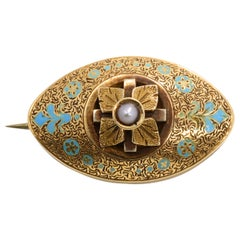 Genuine Pearl Intricate Taille D'Epargne Enamel Floral Pin Brooch Pendant