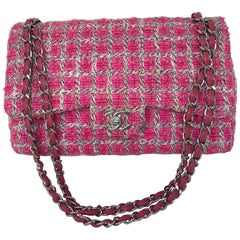 Chanel Hot Pink Tweed Double Flap