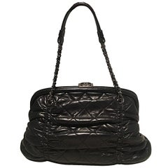 Chanel Black Quilted Ruched Leather Small Sharpei Frame Handbag