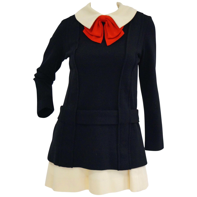 Iconic 1960s Rudi Gernreich Knitwear High Contrast Mini Dress Ensemble