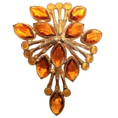 Circa 1965 deLillo Topaz Faceted Glass Bamboo Brooch