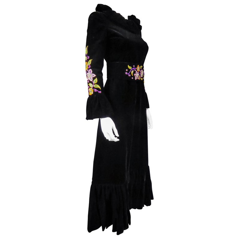 Jean-Louis Scherrer French Couture Black Velvet Dress Circa 1990 For Sale