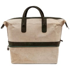 Vintage Canvas Weekend Bag by Delvaux, Belgium,1950s