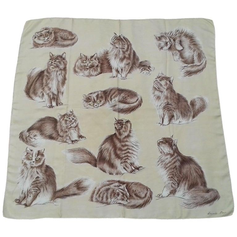 Hermès Vintage Silk Scarf Chats Persans Persian Cats De Poret 1956 Rare GRAIL  For Sale