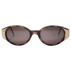 Vintage Yves Saint Laurent 6547 Round Gold 1980's Paris Sunglasses