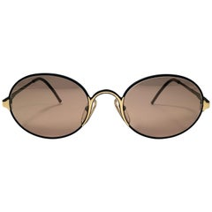 New Vintage Gianfranco Ferre Oval Black & Gold 1990's Made in Italy Sunglasses
