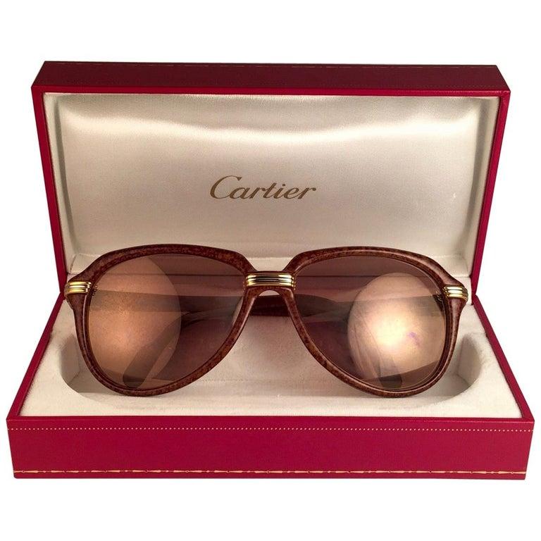 Vintage Cartier Vitesse Brown Jaspe 58MM 18K Gold Plated Sunglasses France  For Sale
