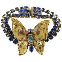 Yves Saint Laurent YSL Vintage Jewelled Butterfly Bracelet