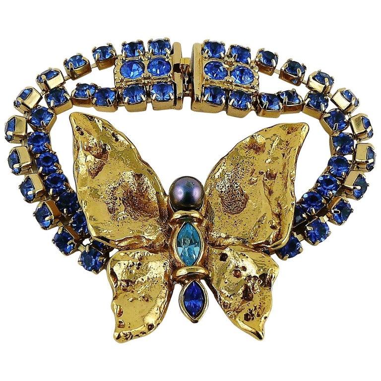 e1bbe466b2f Yves Saint Laurent YSL Vintage Jewelled Butterfly Bracelet For Sale ...
