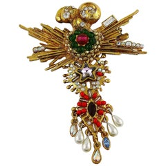 Christian Lacroix Vintage Gold Toned Jewelled Baroque Brooch