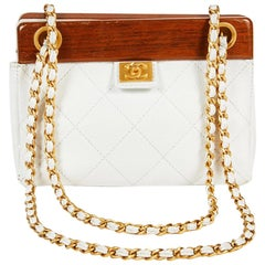 CHANEL Vintage Bag in Brown Wood and White Quilted Grained Leather