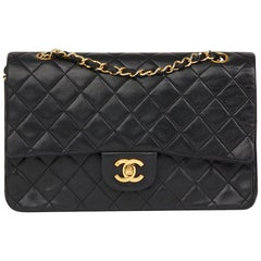 1990 Chanel Black Quilted Lambskin Vintage Medium Classic Double Flap Bag
