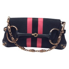 Gucci Black with Pink Stripes Small Shoulder Bag