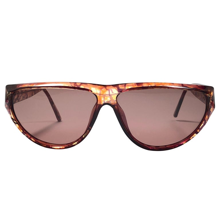 New Vintage Viennaline 1636 Translucent Camouflage Sunglasses Germany 1980 For Sale