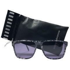 New Vintage Paco Rabanne Translucent Black & White Sunglasses Germany 1980