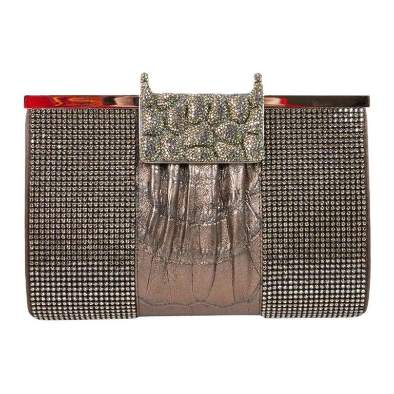 DANIEL SWAROVSKI Evening Clutch in Crocodile and Crystal mesh For Sale