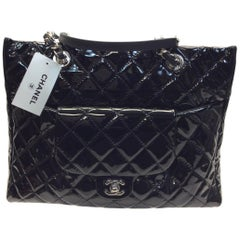 Chanel Black Patent Leather Large Shopping Tote NWT