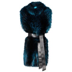 Verheyen London Nehru Collar Stole in Electric Teal Fox Fur & Silk Lining