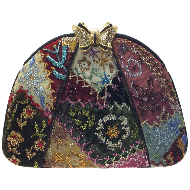 Judith Leiber Black Silk Beaded Clutch For Sale