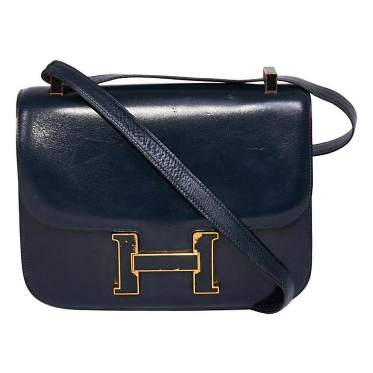 HERMES Vintage Constance Bag in Navy Blue Leather Box For Sale