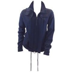 Akris Cashmere Navy Blue Zip Up Jacket NWT