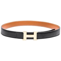 HERMES H Reversible Belt in Black and Gold Leather Size 70FR