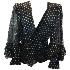 Givenchy Couture Black and Gold Print Blouse