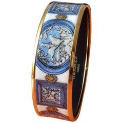 Hermès Vintage Enamel Bracelet Wedgwood Ledoux Size 65 New Golden Hdw