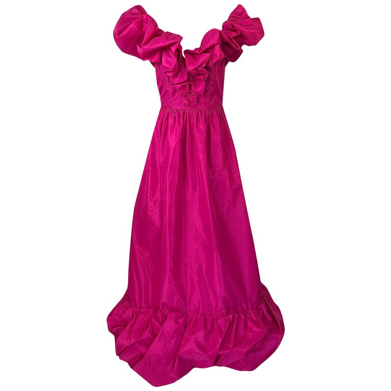 1980s Loris Azzaro Couture Bright Pink Silk Taffeta Backless Plunge Dress For Sale