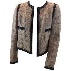Chanel Camel with Black Trim Wool Jacket