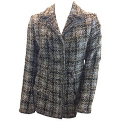 Chanel Black and Tan Plaid Wool Jacket