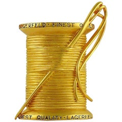 Karl Lagerfeld Vintage Massive Gold Toned Needle and Thread Brooch