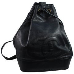 Chanel Vintage Navy Caviar Leather  Backpack