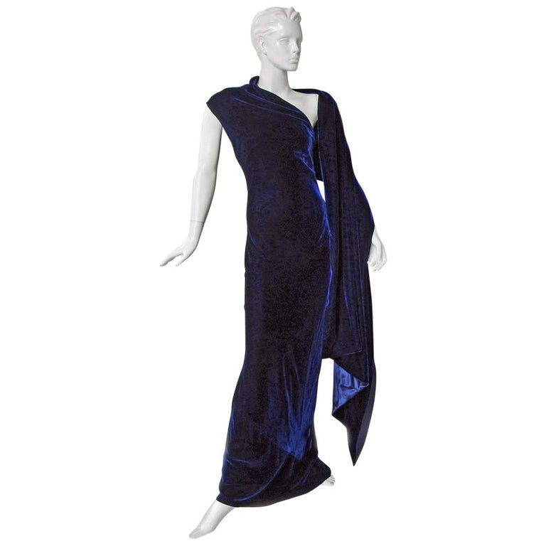 """Alexander McQueen Stunning """"Blue Velvet"""" Draped  Dress Gown with Wrap   New! For Sale"""