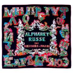 Hermès Silk Scarf ALPHABET RUSSE Evgenia Miroshnichenko Rare in Black 90 cm