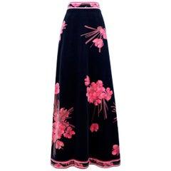 LEONARD PARIS Midnight Blue & Pink Azalea Print Velvet Maxi Skirt, circa 1970s