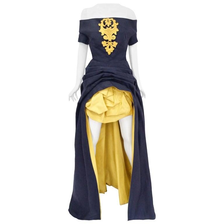1991 Christian Lacroix Couture Navy Linen and Gold Silk Shantung Evening Gown 32 For Sale