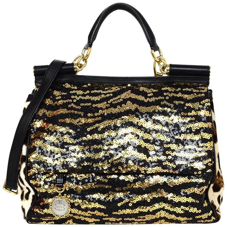 00c4c8308e26 Dolce and Gabbana Leopard Animal Print Ponyhair Sequin Miss Sicily Bag W   Strap For Sale at 1stdibs