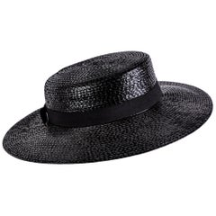 Yves Saint Laurent YSL Vintage Glossy Black Straw Hat, 1980s