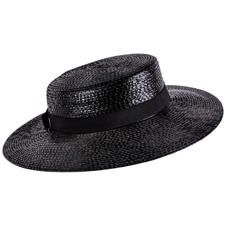 2b4d98b8d64 Yves Saint Laurent YSL Vintage Glossy Black Straw Hat, 1980s For Sale