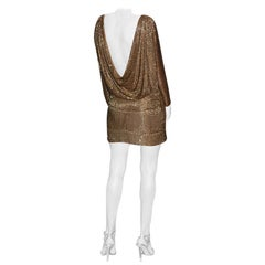 Tom Ford Dramatic Drape Bronze Beaded Evening Dress  New!