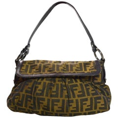 Fendi Brown Monogram Zucca Chef Shoulder Flap Bag