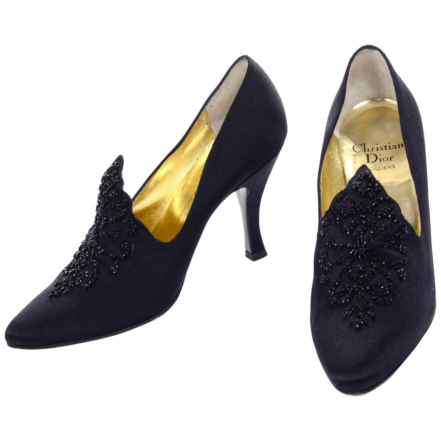 Christian Dior Souliers Vintage Black Satin Beaded Shoes Size 8 W/ Bag & Box