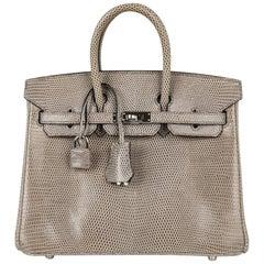 Hermes Birkin 25 Bag Gris Agate Lizard Palladium Hardware VERY Rare