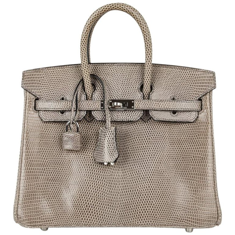 6c141627789 Hermes Birkin 25 Bag Gris Agate Lizard Palladium Hardware VERY Rare For  Sale at 1stdibs