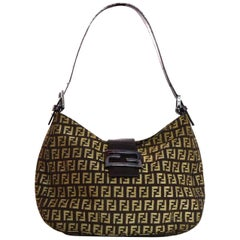 Fendi Brown Canvas Monogram Zucca Half Moon Bag W/ Logo Buckle