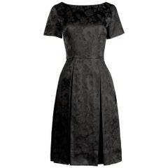 1960s Vintage Black Satin Floral Brocade Cocktail Dress with Box Pleats