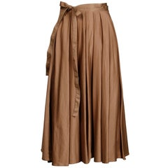 1980s Kenzo Paris Vintage Taupe Brown Cotton Wrap Midi Skirt